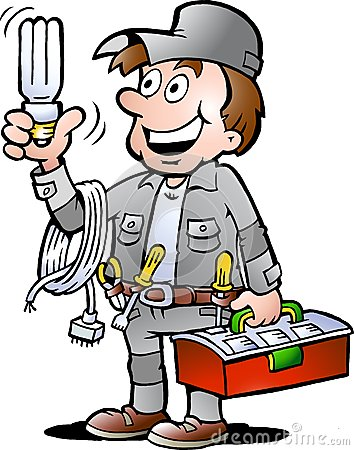 Vector illustration of an happy Electrician Handyman