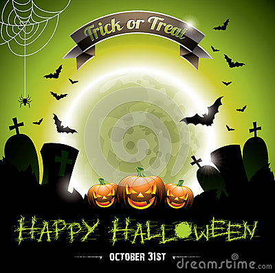 Vector illustration on a Happy Halloween theme with pumkins.