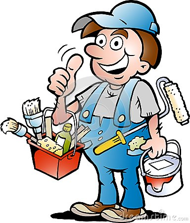 Vector illustration of an happy Painter Handyman