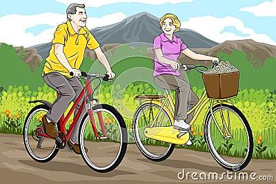 Senior riding bike
