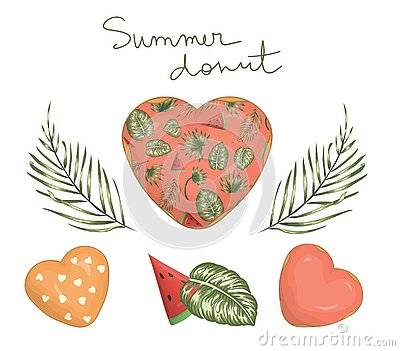 Vector illustration of heart shaped donut with pink icing with green palm and monstera leaves and watermelon Vector Illustration