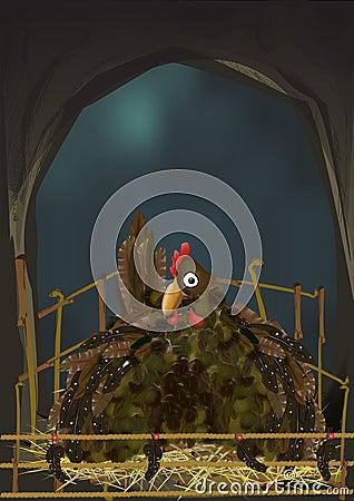 Vector Illustration of a Hen