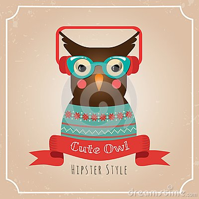 Vector Illustration of Hipster Owl