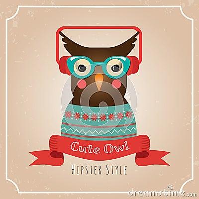 Vector Illustration of Hipster Owl