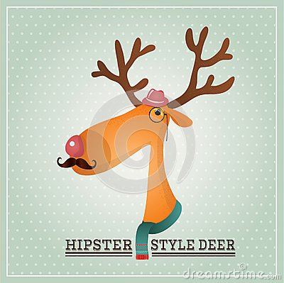 Vector Illustration Hipster Reindeer