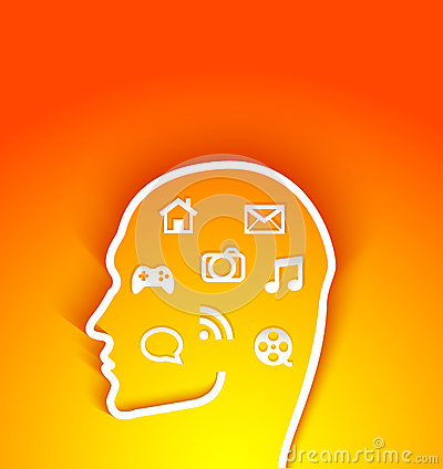 Vector illustration of  human head with multimedia
