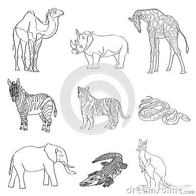 Vector illustration. Image rhino kangaroo, giraffe, elephant, zebra, snake, crocodile, camel, tiger a black line. Vector Illustration