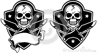 Vector illustration of a insignia with skull