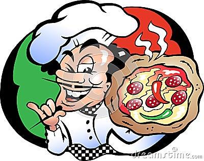 Vector illustration of an Italien Pizza Baker