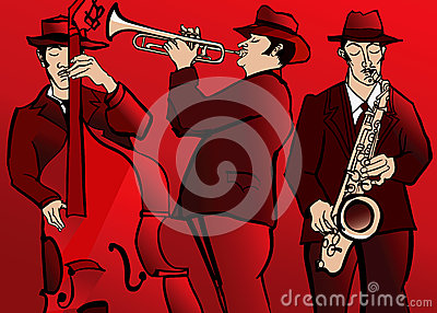 Jazz band with bass saxophone and trumpet