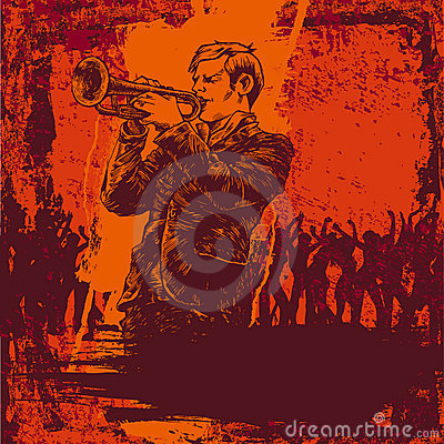 Vector illustration with jazz trumpeter
