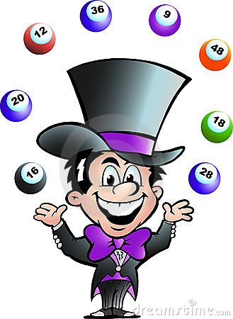 Vector illustration of an Juggling Bingo Man