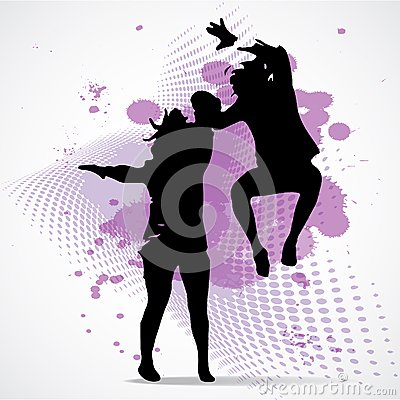 Vector Illustration of jumping boy and girl