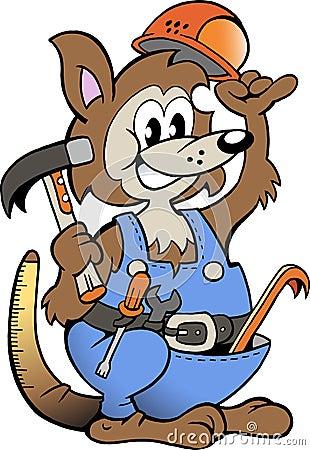 Vector illustration of an Kangaroo Handyman