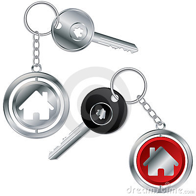 Vector illustration of key with house keyholder