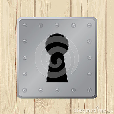 Vector illustration - keyhole on wooden door