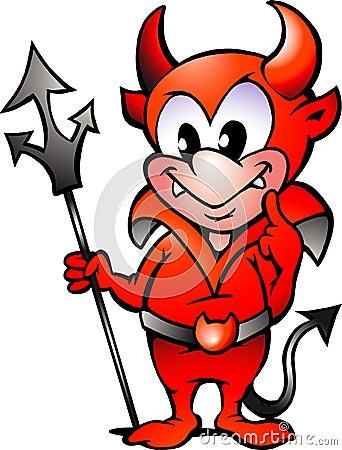 Vector illustration of an Little Red Devil Boy