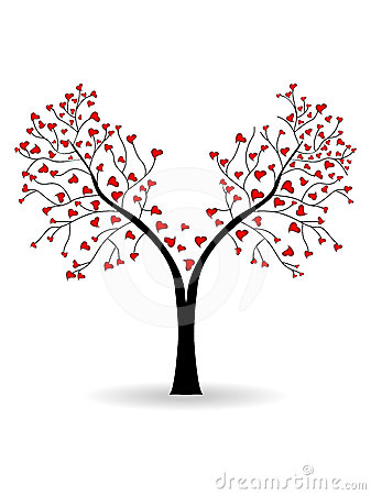 Vector illustration of a love tree