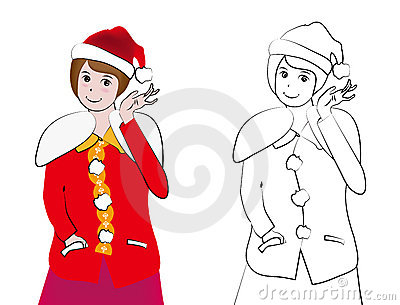 Vector illustration, lovely santa girl