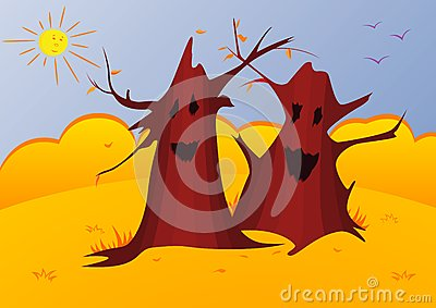 Vector illustration of magic autumn trees