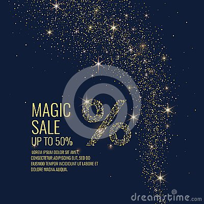 Free Vector Illustration. Magic Sale. Sparkling Glittery Particles On A Dark Background. Royalty Free Stock Photos - 106621718