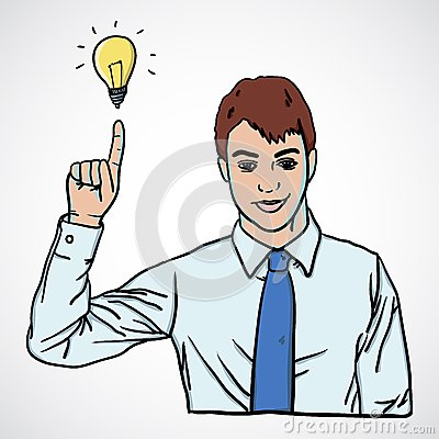 Vector illustration of man pointing up with lamp