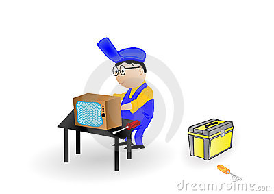 Vector illustration the master the repairing TV.