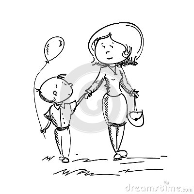 Vector Illustration Of Mom And Son Stock Vector - Image ...