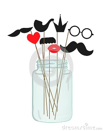 Vector illustration of moustache, glasses, lips, heart, crown, pipe on stick in a glass jar. Vector Illustration