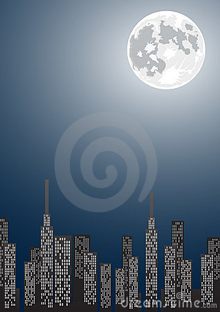 Vector illustration of night city with copy-space