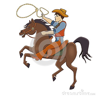 Free Vector Illustration Of A Cowboy Galloping On A Horse. Stock Photo - 116418750