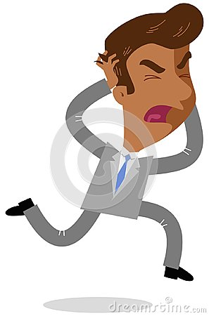 Free Vector Illustration Of A Furious Asian Cartoon Businessman Running And Tearing His Hair Screaming Royalty Free Stock Images - 112668679