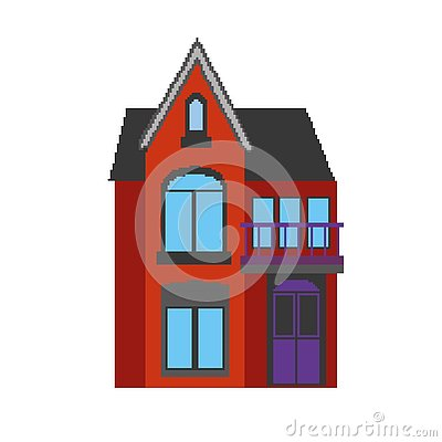 Free Vector Illustration Of A House In Pixel Art Style. Royalty Free Stock Image - 139464216