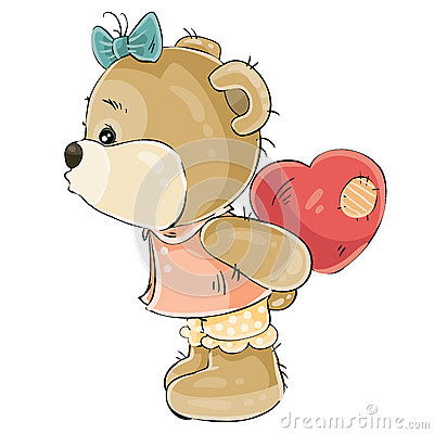 Free Vector Illustration Of A Loving Brown Teddy Bear Girl Hiding Behind Her Plush Red Heart And About To Kiss Someone Royalty Free Stock Images - 92969569