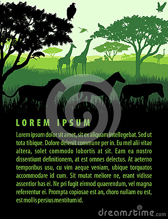 Free Vector Illustration Of African Savannah Safari Landscape With Wildlife Animals Silhouettes Design Template Royalty Free Stock Photography - 92207697