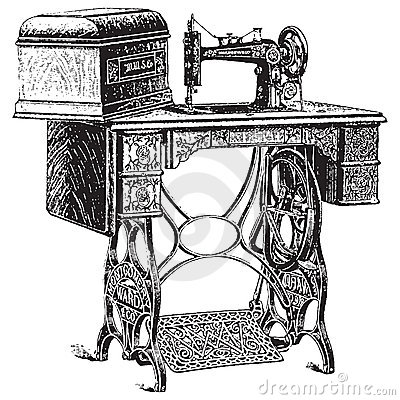 Free Vector Illustration Of Antique Sewing Machine Royalty Free Stock Images - 14003279