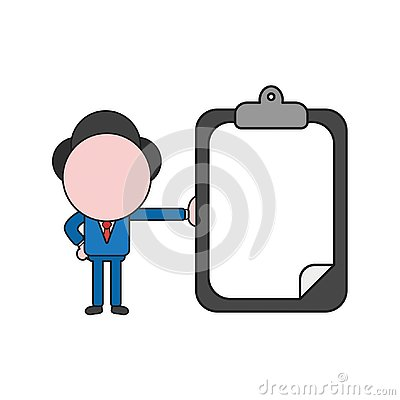 Free Vector Illustration Of Businessman Character Holding Clipboard W Royalty Free Stock Photo - 128944775