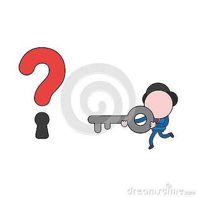 Free Vector Illustration Of Businessman Character Running And Carrying Key To Question Mark Keyhole. Color And Black Outlines. Stock Image - 133189831