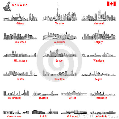 Free Vector Illustration Of Canadian City Skylines In Black And White Tints Color Palette Stock Image - 90106211