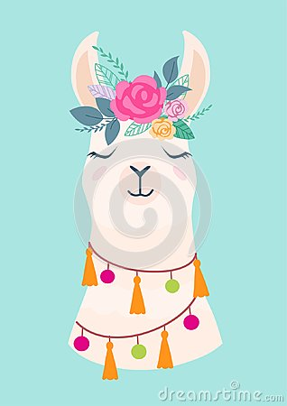 Free Vector Illustration Of Cute Cartoon Llama With Flowers. Stylish Drawing For Birthday Cards, Party Invitations, Poster And Postcard Stock Photo - 120317200