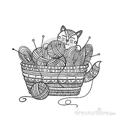 Free Vector Illustration Of Cute Cat With Knitting Basket Of Yarn Bal Royalty Free Stock Image - 124604386