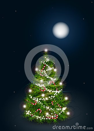 Free Vector Illustration Of Decorated Christmas Tree On Royalty Free Stock Photo - 46619085