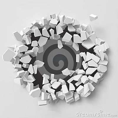 Free Vector Illustration Of Exploding Wall With Free Area On Center For Any Object Or Background Royalty Free Stock Images - 121236889