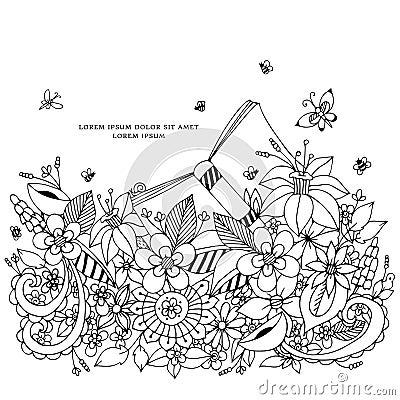 Free Vector Illustration Of Floral Frame Zentangle, Doodling. Zenart, Doodle, Flowers, Butterflies, Delicate, Beautiful Stock Image - 70249011