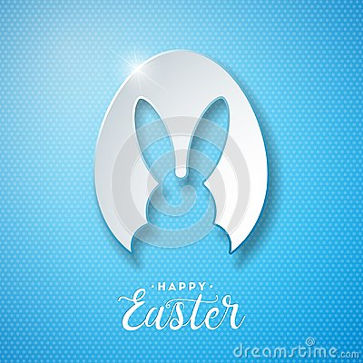 Free Vector Illustration Of Happy Easter Holiday With Rabbit Ears In Cutting Egg And Typography Letter On Blue Background Stock Photography - 110548142