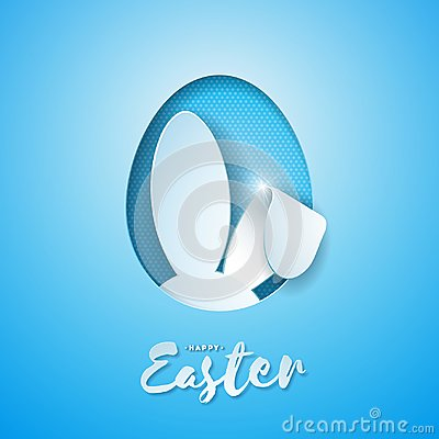 Free Vector Illustration Of Happy Easter Holiday With Rabbit Ears In Cutting Egg And Typography Letter On Blue Background Stock Photos - 110548603