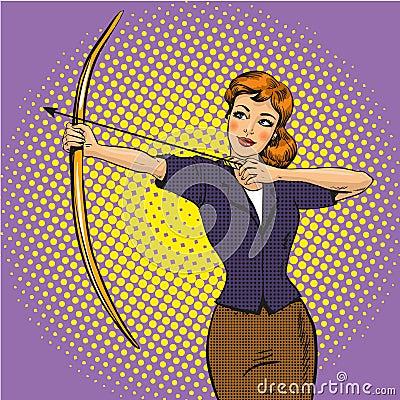 Free Vector Illustration Of Lady Archer, Retro Pop Art Comic Style Royalty Free Stock Photos - 87644688