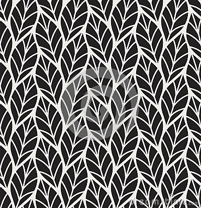 Free Vector Illustration Of Leaves Seamless Pattern. Floral Organic Background. Hand Drawn Leaf Texture. Stock Photo - 113888260