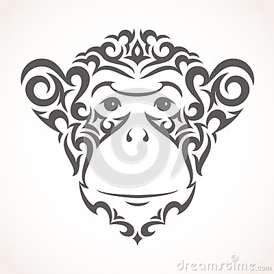 Free Vector Illustration Of Monkey. Tribal Style Royalty Free Stock Images - 56653019