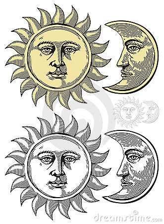 Free Vector Illustration Of Moon And Sun Royalty Free Stock Images - 20709789